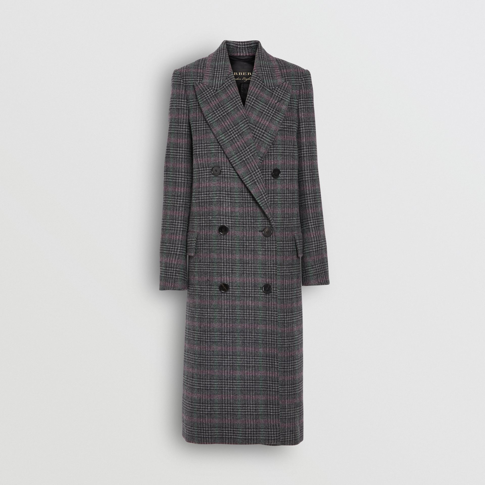 Prince of Wales Check Wool Tailored Coat in Charcoal - Women | Burberry United Kingdom - gallery image 3