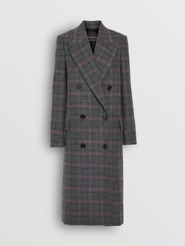 Prince of Wales Check Wool Tailored Coat in Charcoal - Women | Burberry United Kingdom - cell image 3