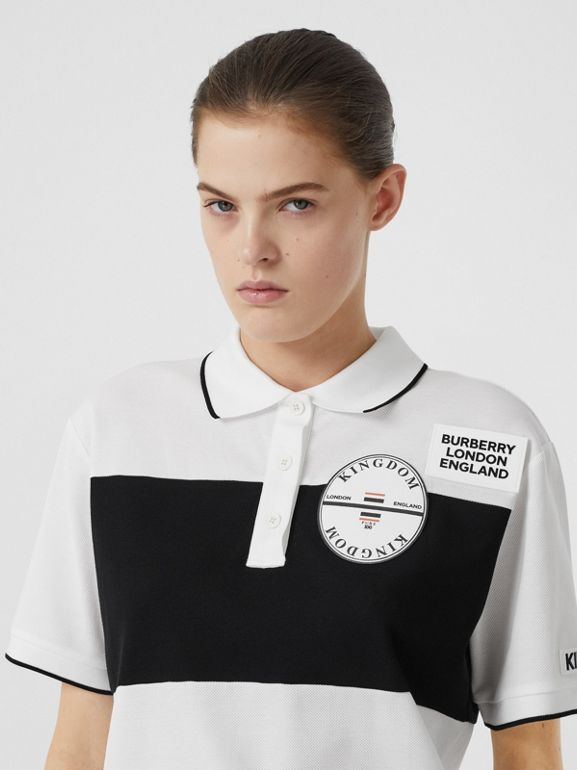 Logo Appliqué Striped Cotton Oversized Polo Shirt in White - Women | Burberry - cell image 1