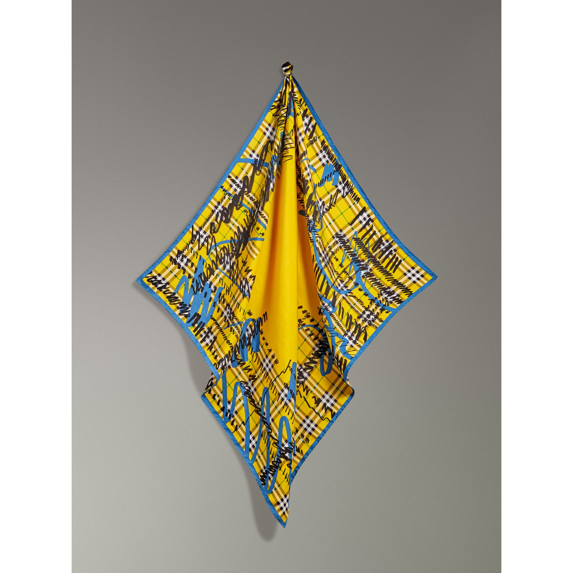 Scribble Check Silk Square Scarf in Bright Yellow - Women | Burberry - gallery image 4