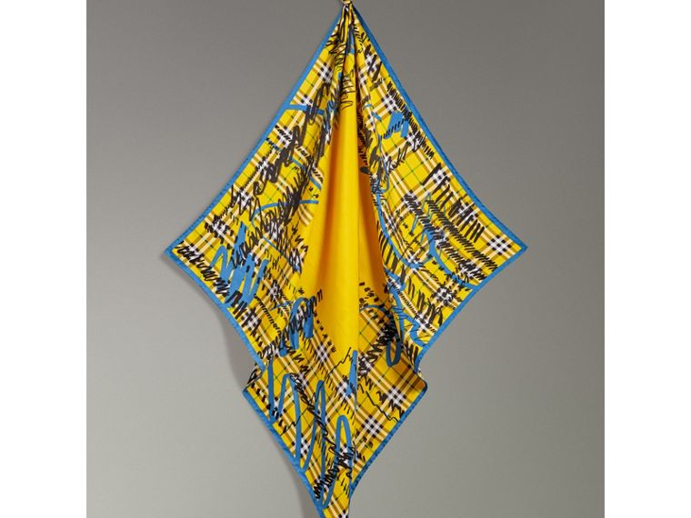 Scribble Check Silk Square Scarf in Bright Yellow - Women | Burberry - cell image 4