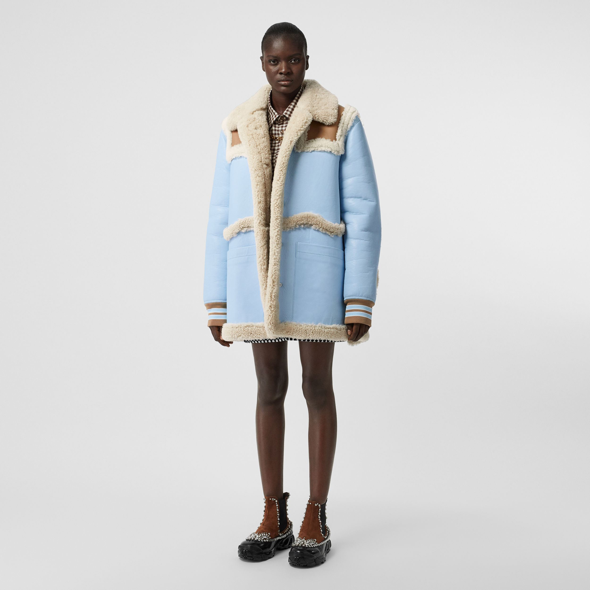 Two-tone Leather and Shearling Coat in Baby Blue - Women | Burberry - 1