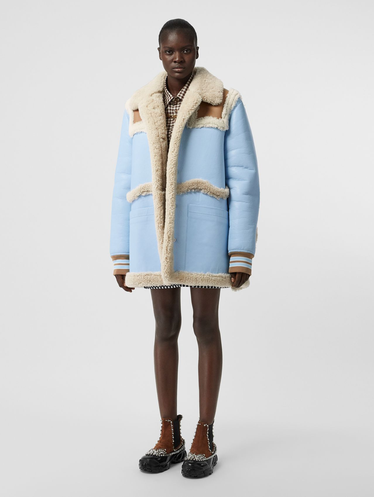 Two-tone Leather and Shearling Coat in Baby Blue