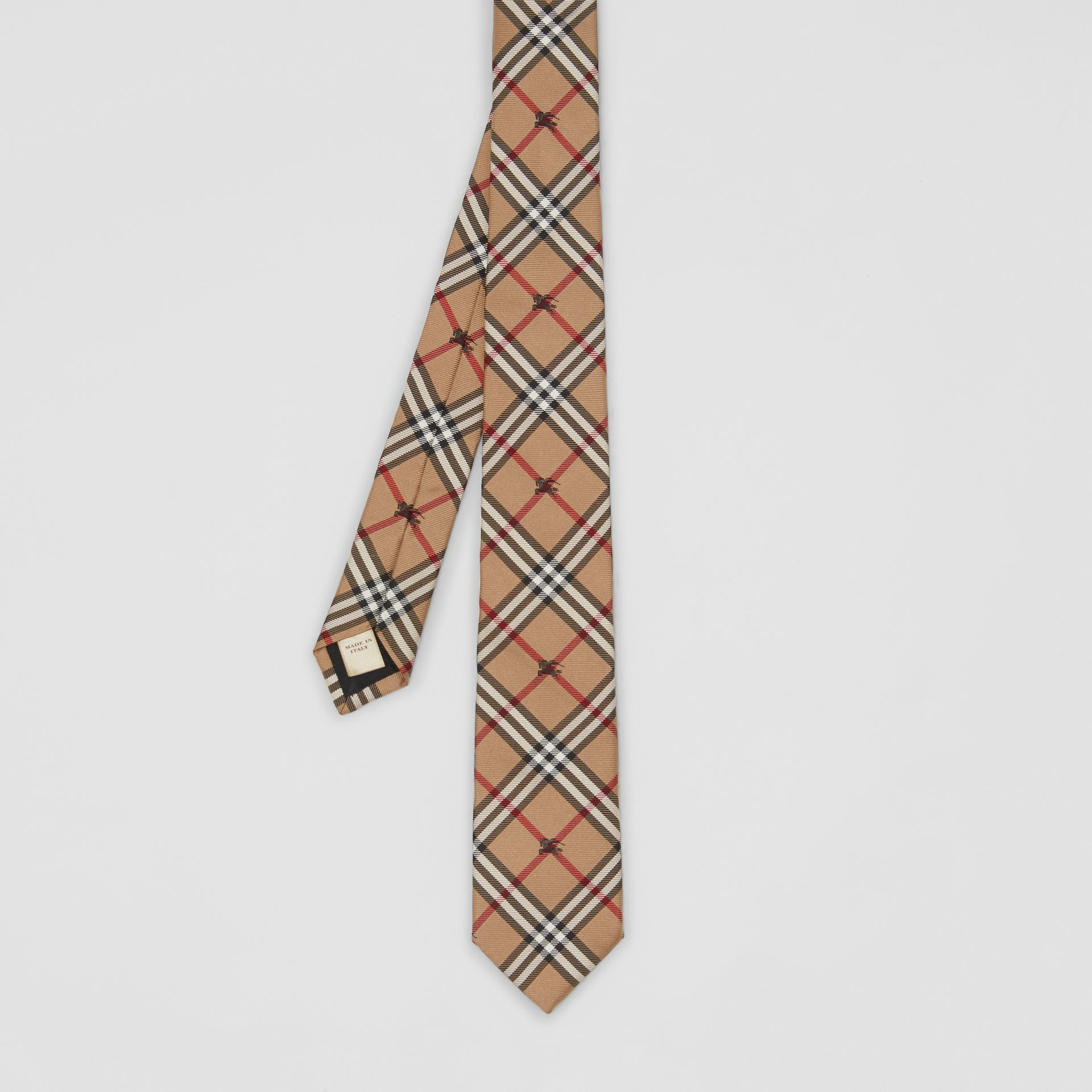Slim Cut Equestrian Knight Check Silk Tie in Camel - Men | Burberry - gallery image 3