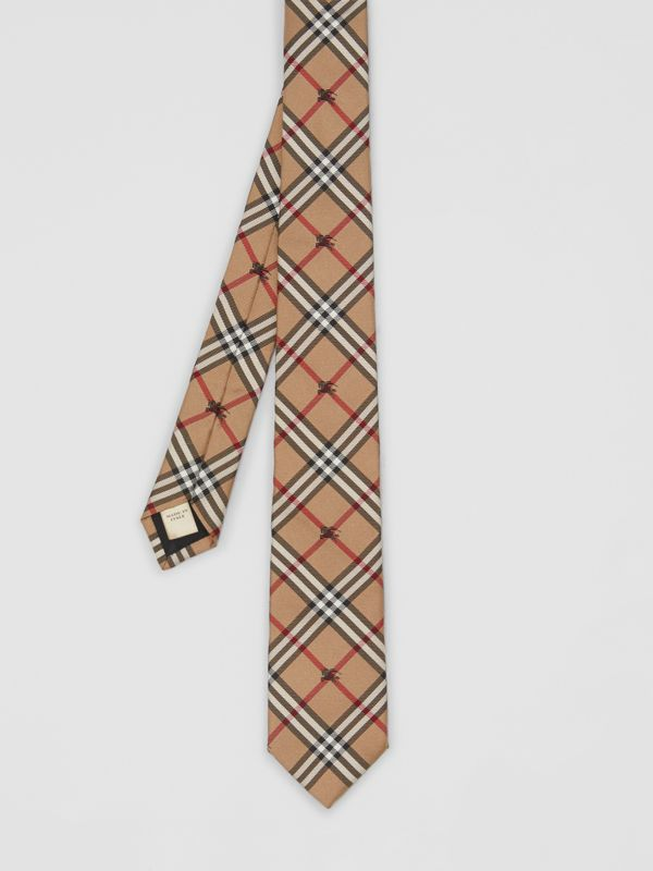 Slim Cut Equestrian Knight Check Silk Tie in Camel - Men | Burberry United Kingdom - cell image 3