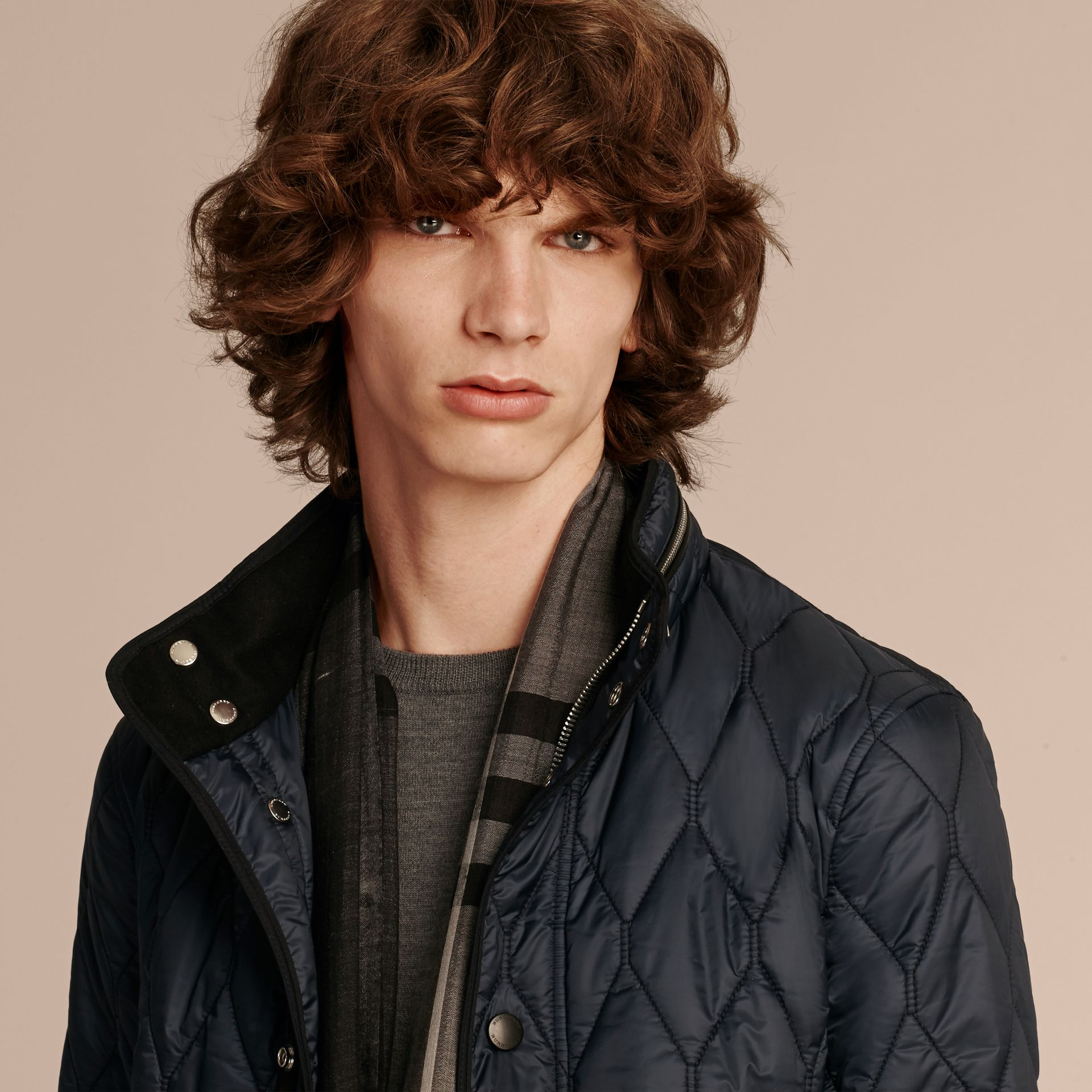 Navy Stand Collar Military Quilted Jacket - gallery image 6