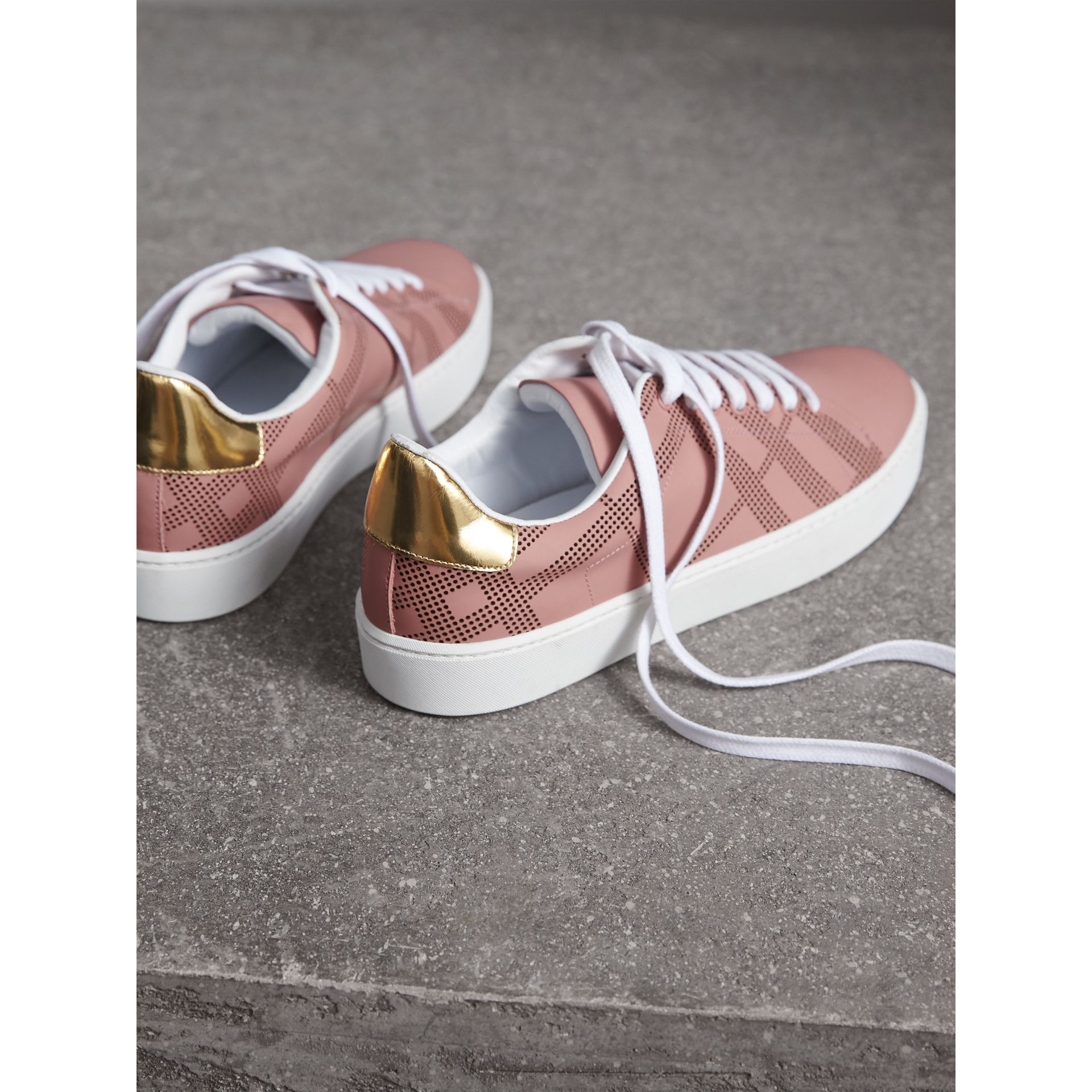 Perforated Check Leather Sneakers in Rose Pink - Women | Burberry - gallery image 3