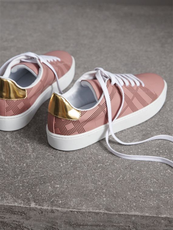 Perforated Check Leather Sneakers in Rose Pink - Women | Burberry - cell image 3
