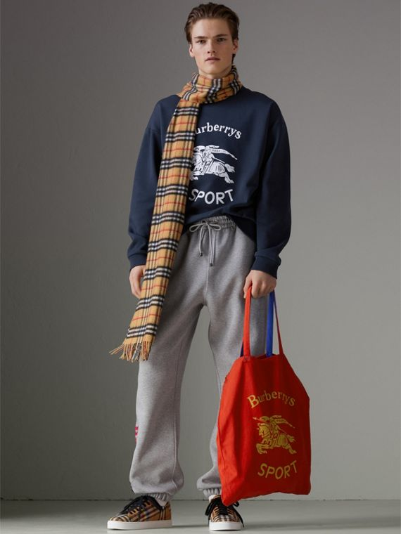 Large Archive Logo Jersey Shopper in Poppy Red | Burberry United States - cell image 3