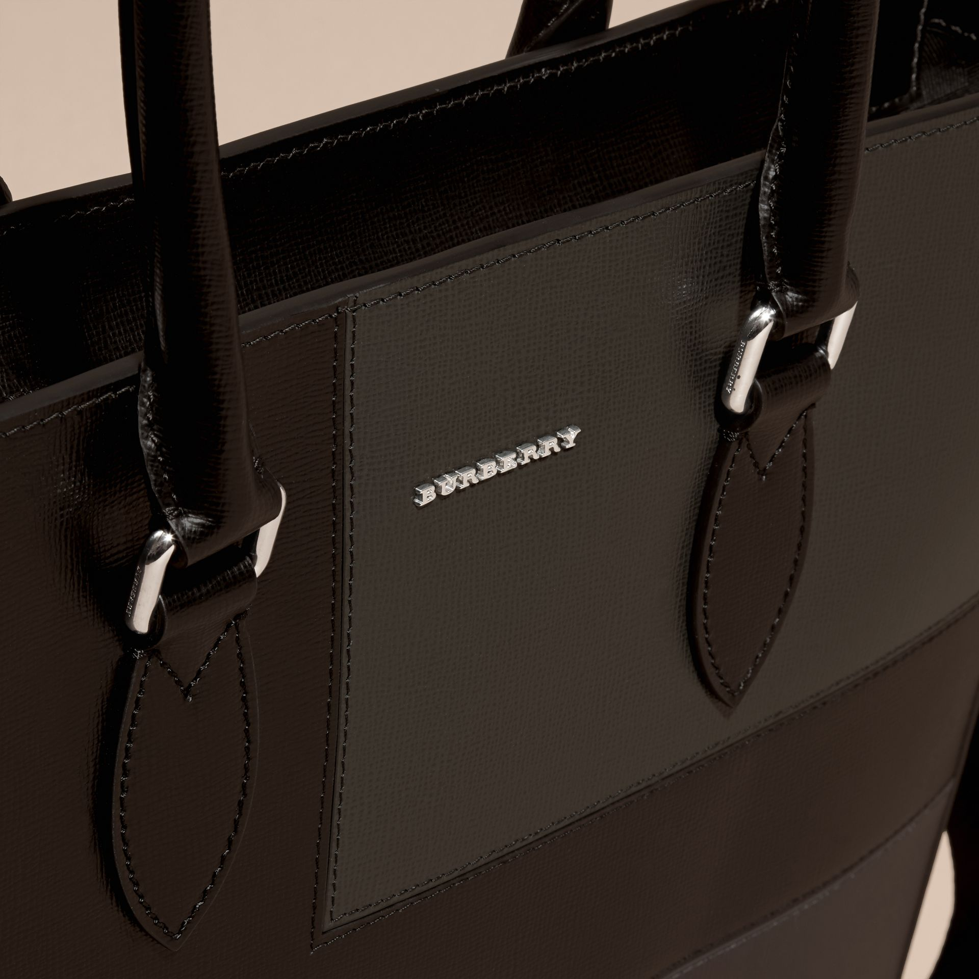 Black Patchwork London Leather Tote Bag - gallery image 2