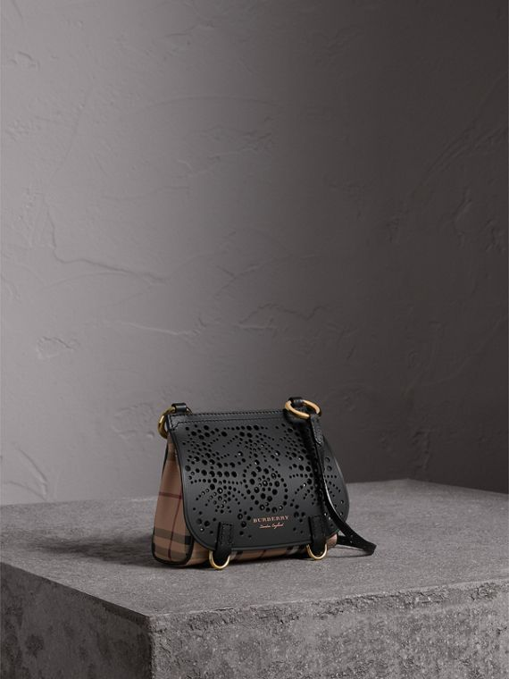 The Baby Bridle Bag in Leather and Haymarket Check in Black - Women | Burberry