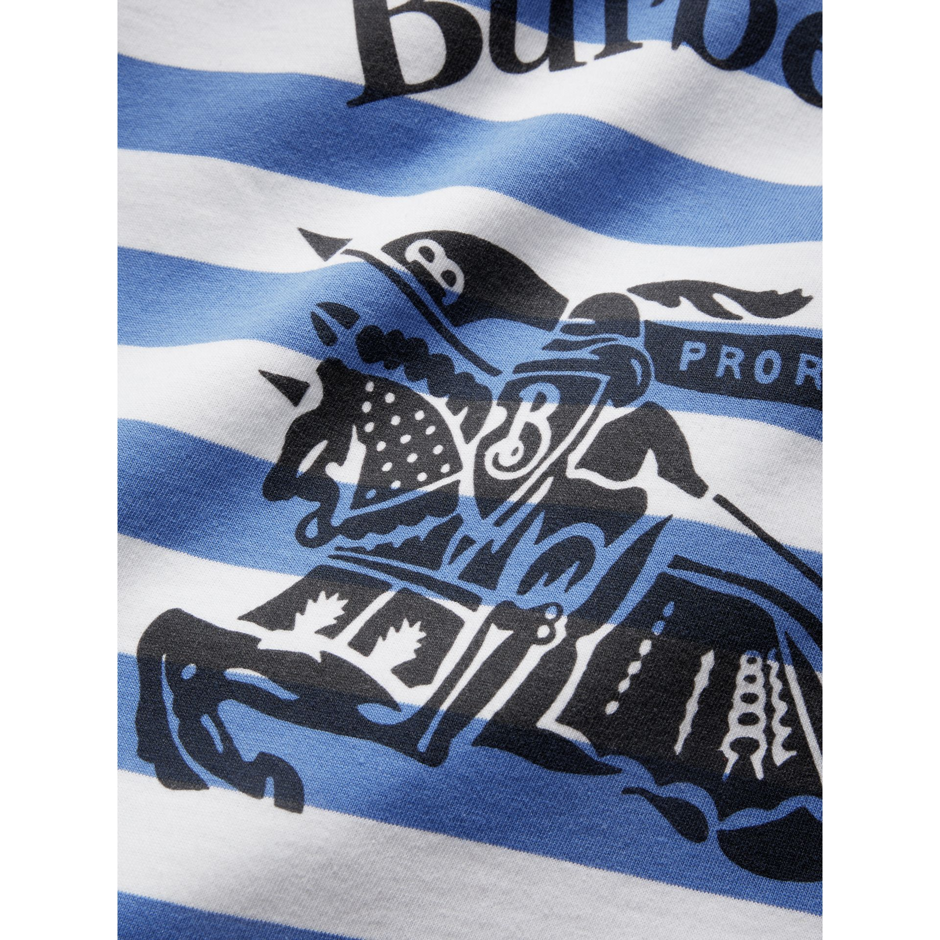 Large Archive Logo Striped Jersey Shopper in Sky Blue/white | Burberry - gallery image 1