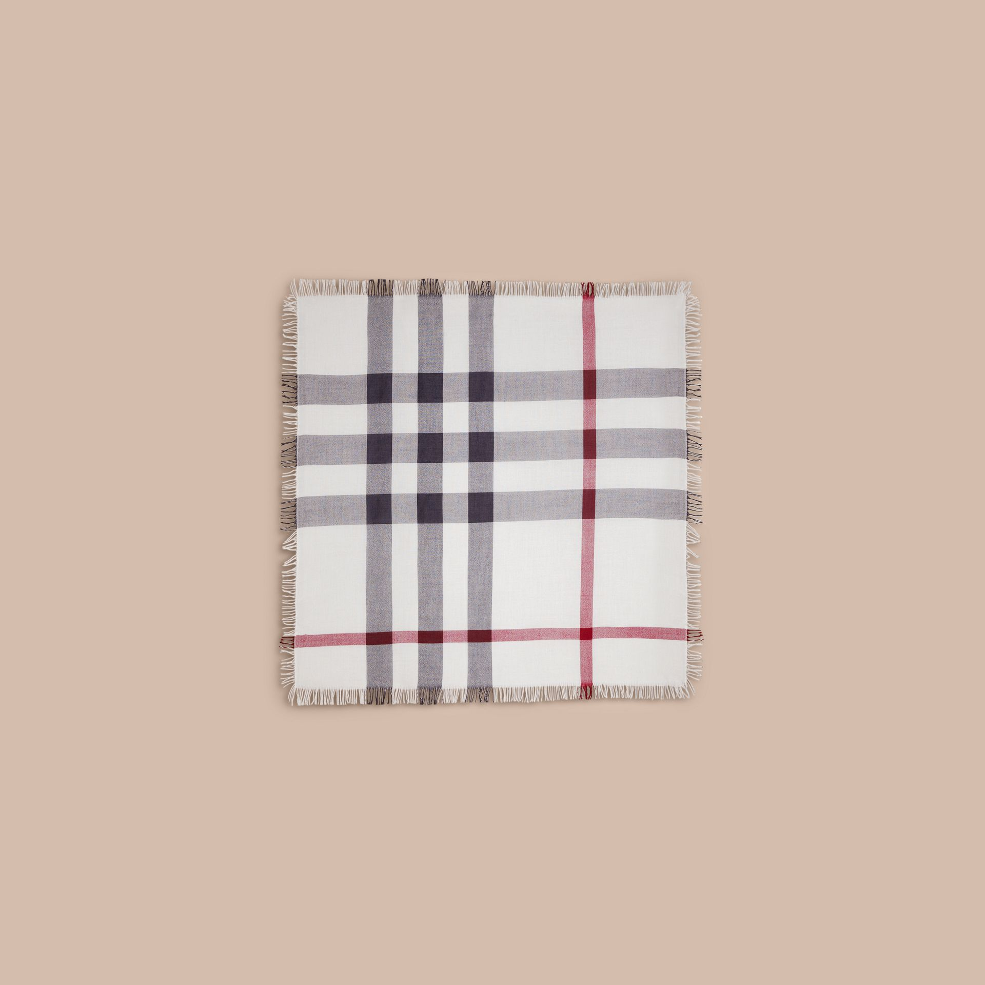 Ivory check Check Wool Square - Large Ivory - gallery image 6