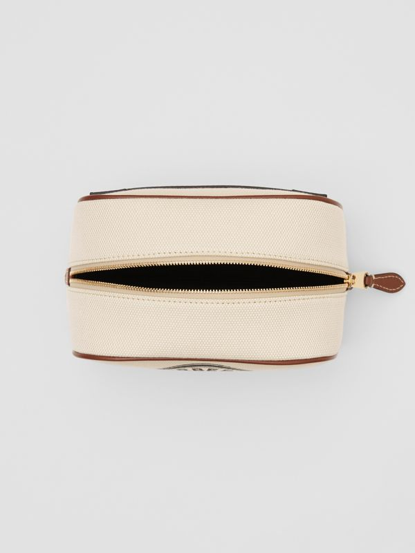 Small Logo Graphic Cotton Canvas Travel Pouch in White/tan - Women | Burberry Hong Kong S.A.R - cell image 3