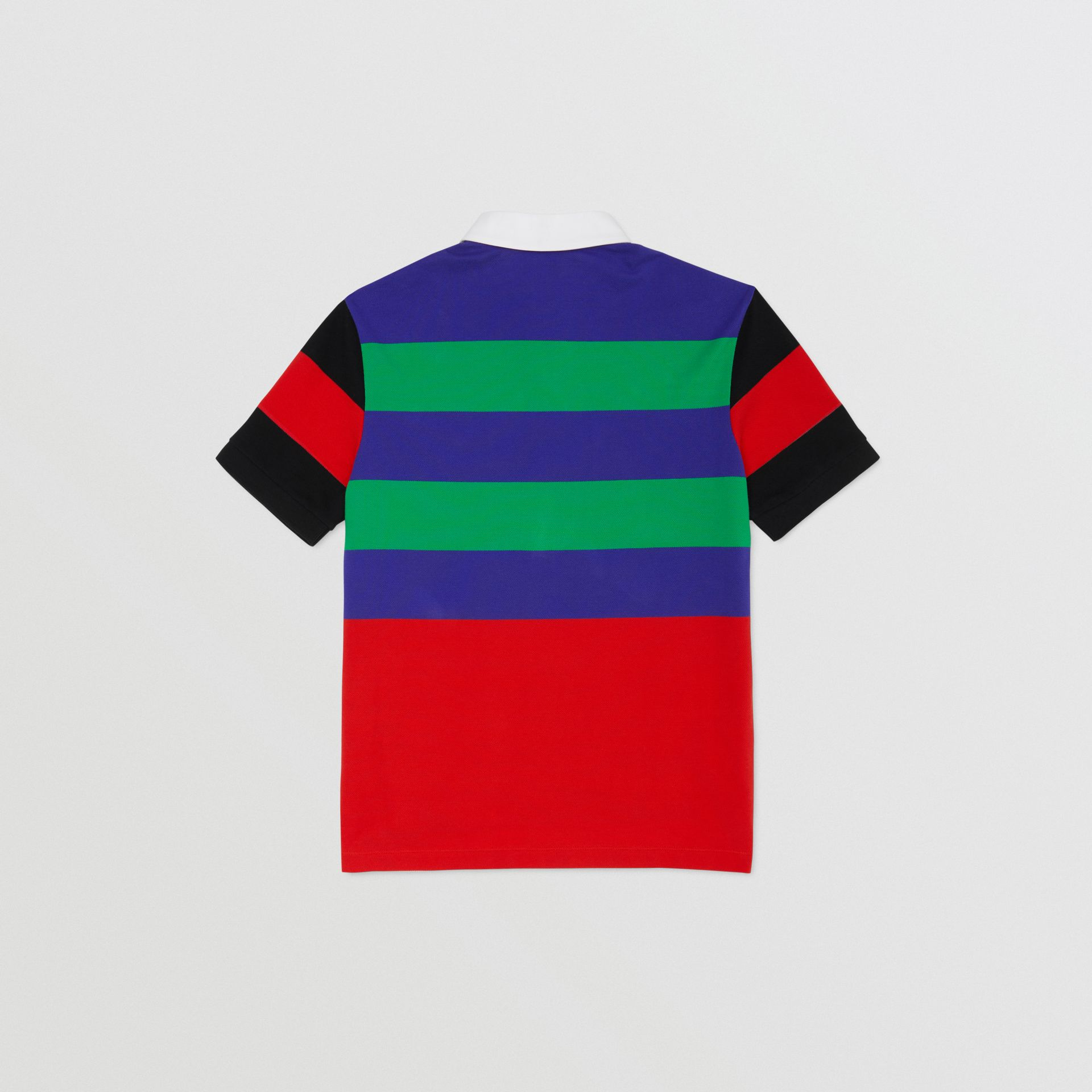 Logo Graphic Striped Cotton Piqué Polo Shirt in Multicolour | Burberry - gallery image 3