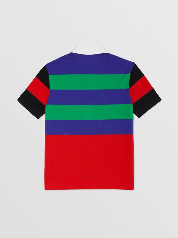 Logo Graphic Striped Cotton Piqué Polo Shirt in Multicolour | Burberry - cell image 3