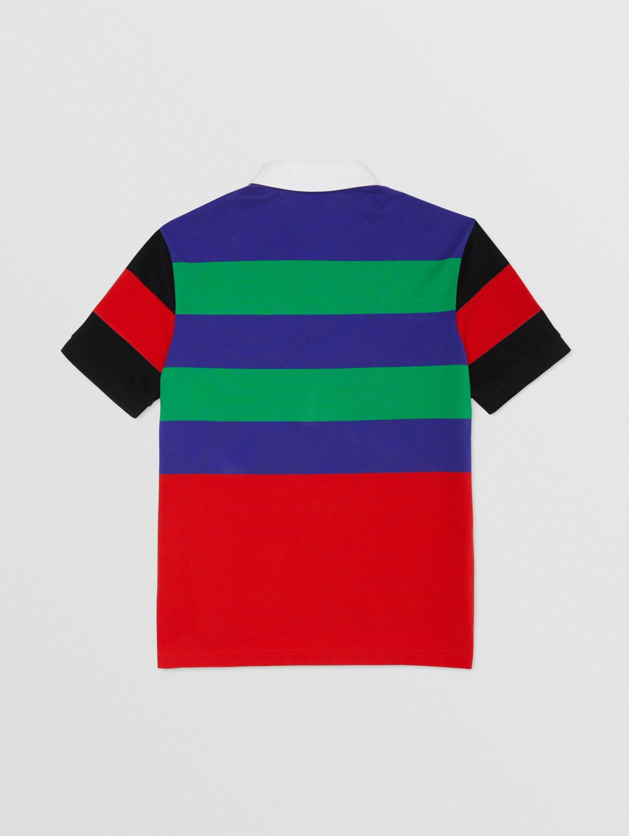 Logo Graphic Striped Cotton Piqué Polo Shirt in Multicolour