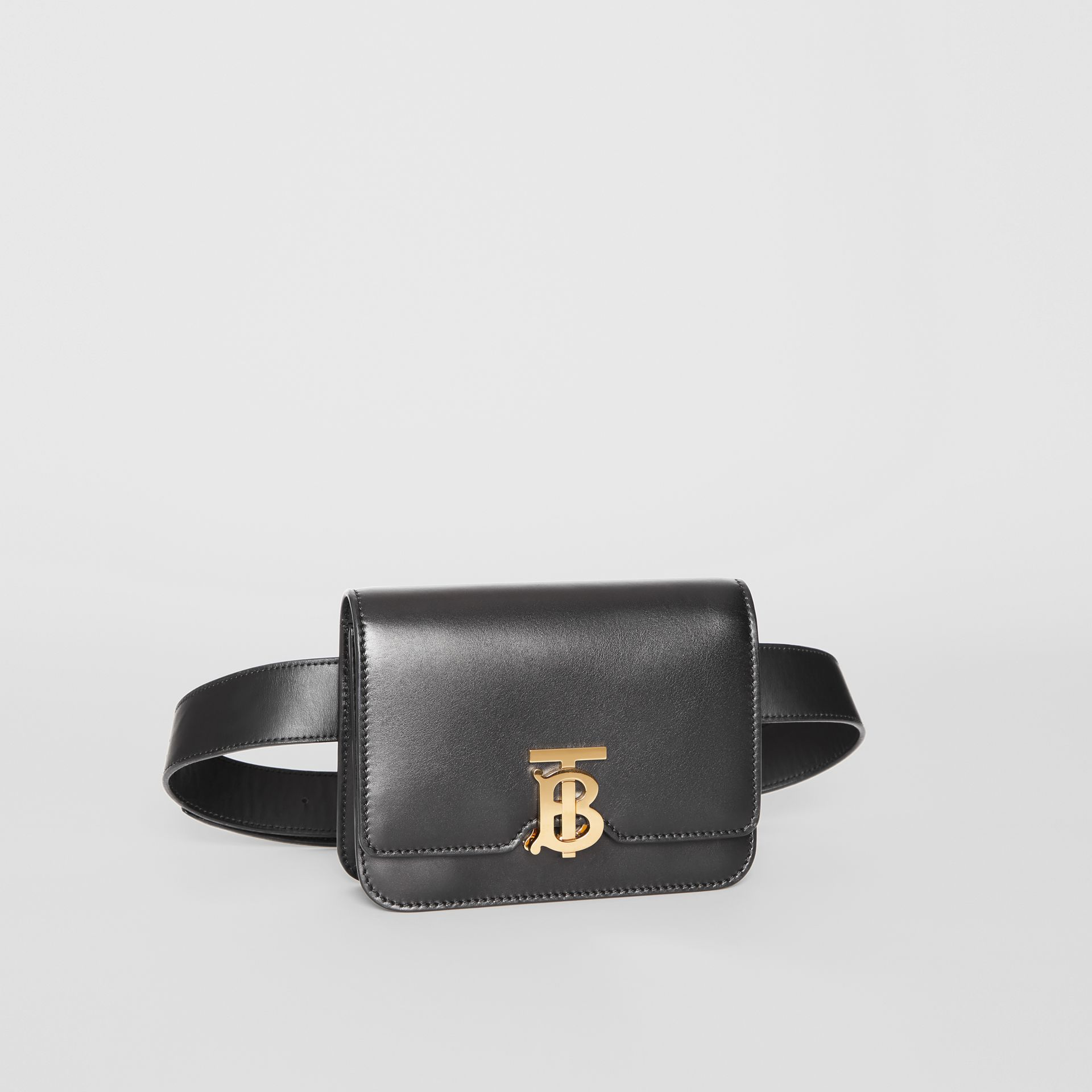 Belted Leather TB Bag in Black - Women | Burberry - gallery image 8