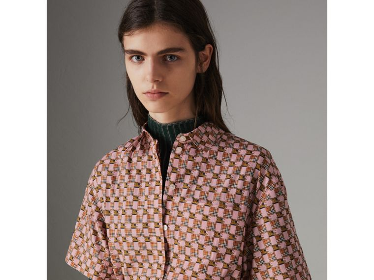 Tiled Archive Print Cotton Shirt Dress in Pink - Women | Burberry - cell image 1