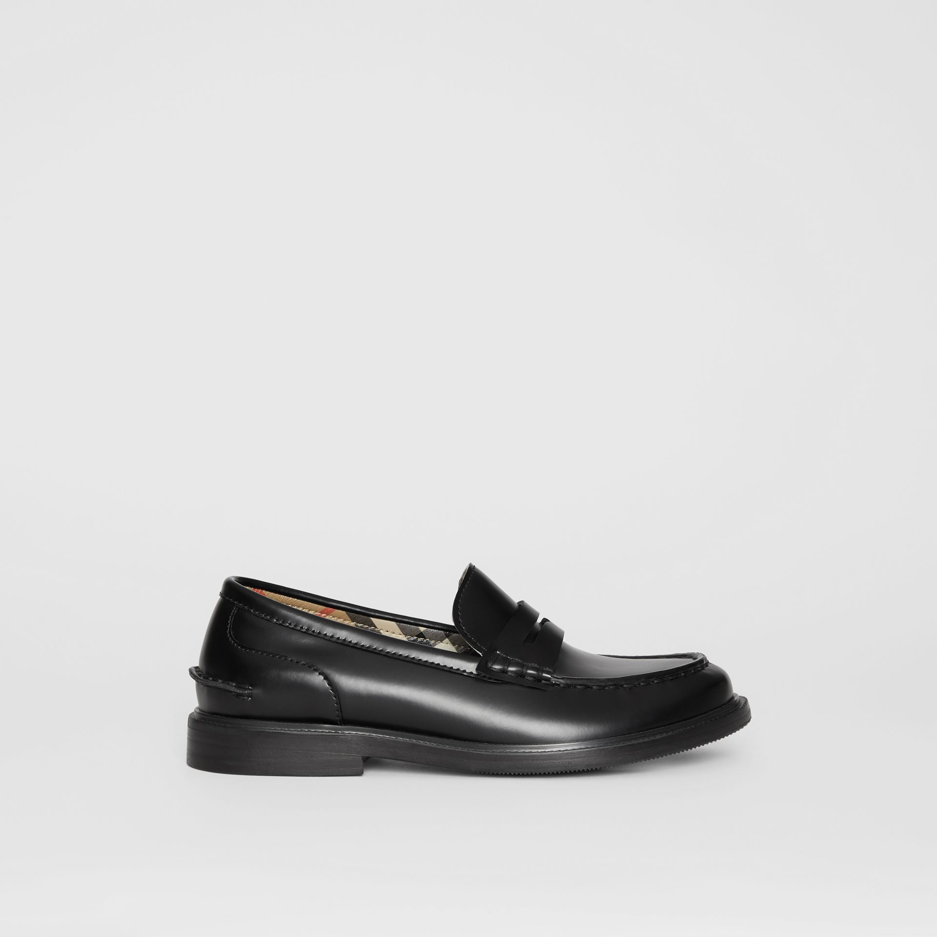 Smooth Leather Loafers in Black - Children | Burberry - gallery image 3
