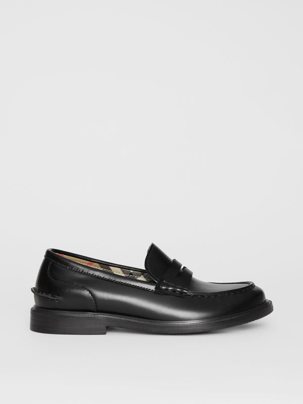 Smooth Leather Loafers in Black - Children | Burberry - cell image 3