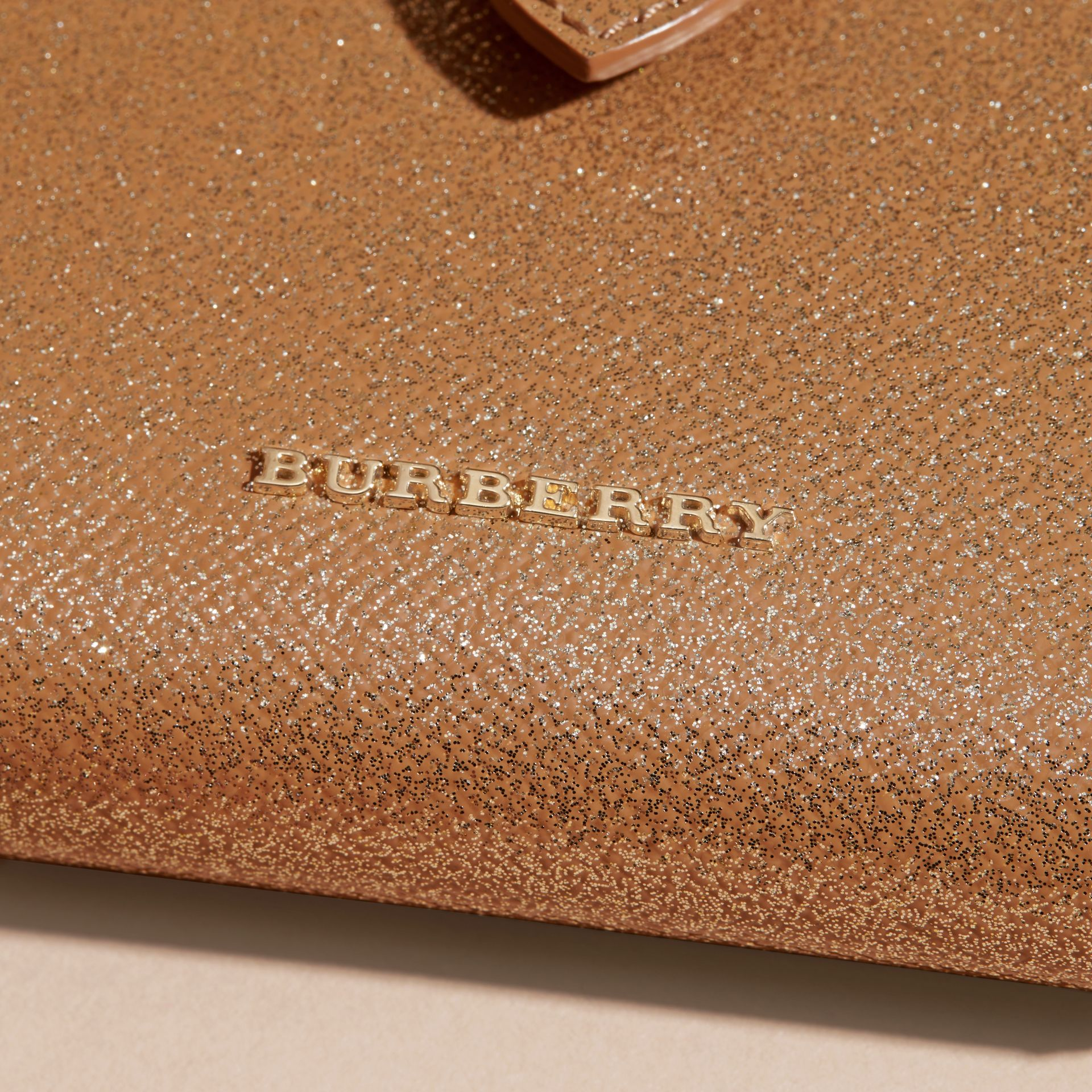 Glitter Patent London Leather Wallet in Camel / Gold - gallery image 2