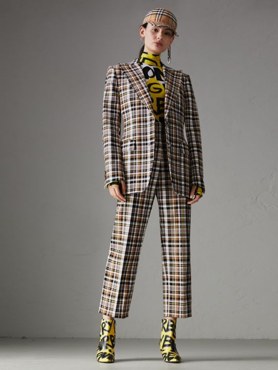 Blazer in cotone stretch con revers a punta e motivo tartan (Toffee Brillante)