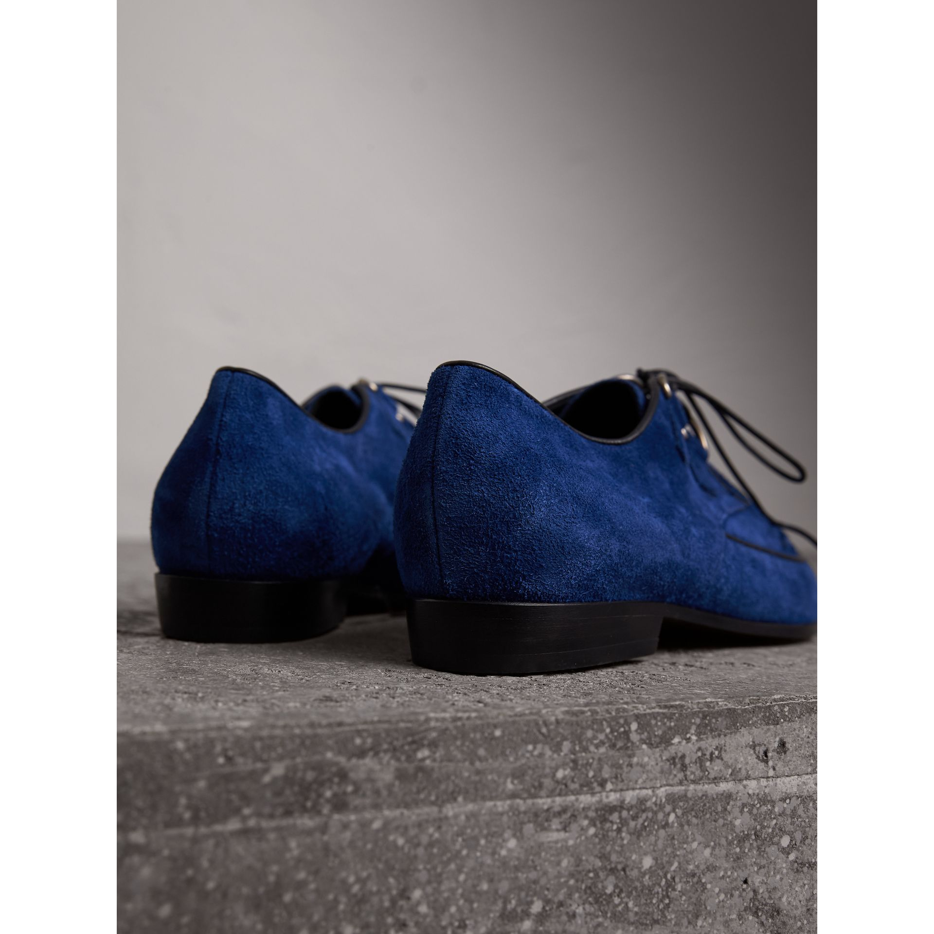 Leather Cord Detail Suede Lace-up Shoes in Brilliant Blue - Women | Burberry Singapore - gallery image 4