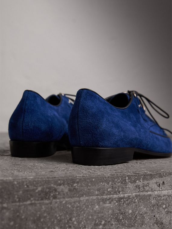Leather Cord Detail Suede Lace-up Shoes in Brilliant Blue - Women | Burberry Singapore - cell image 3