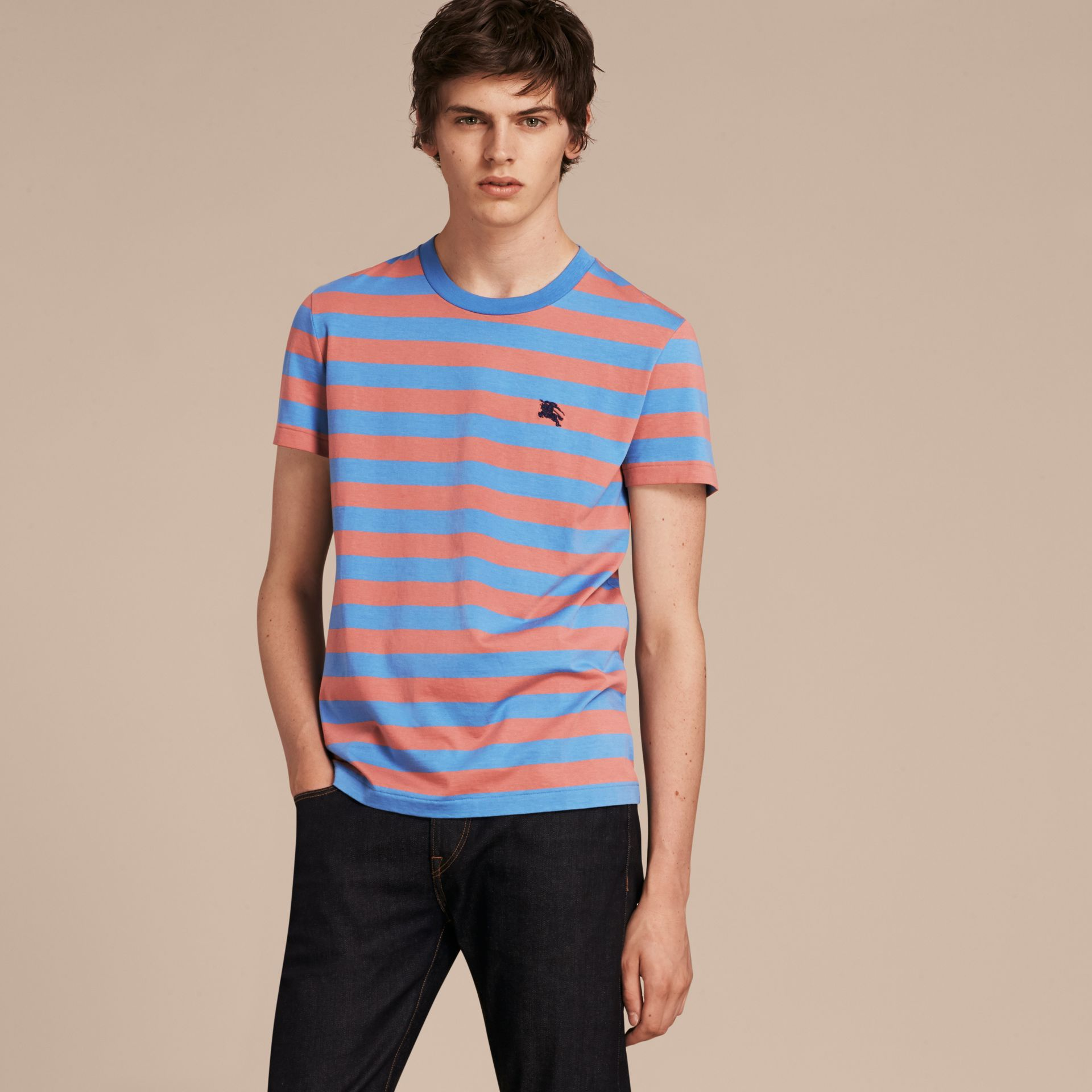 Striped Cotton T-Shirt Rose Pink/chalk Blue - gallery image 1