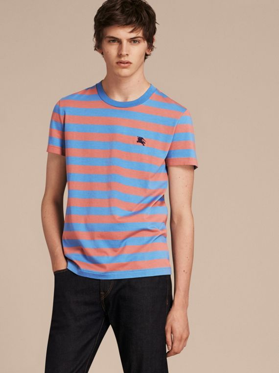 Striped Cotton T-Shirt in Rose Pink/chalk Blue