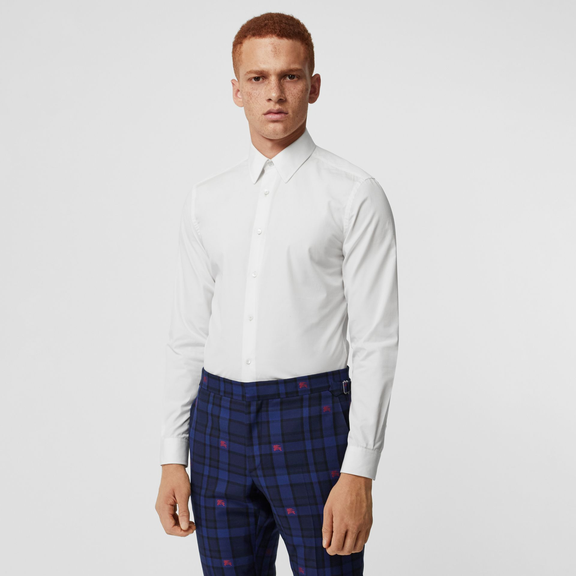 Slim Fit Cotton Poplin Shirt in White - Men | Burberry United States - gallery image 0