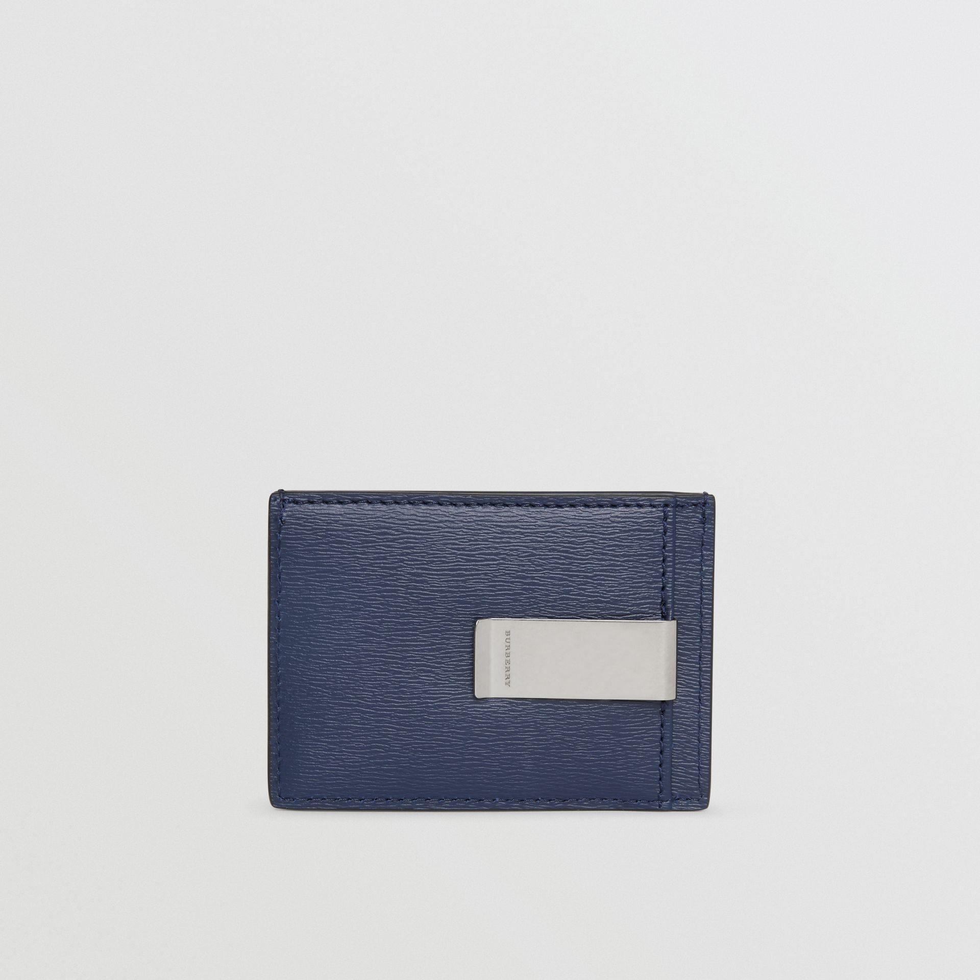 London Leather Money Clip Card Case in Navy - Men | Burberry - gallery image 4