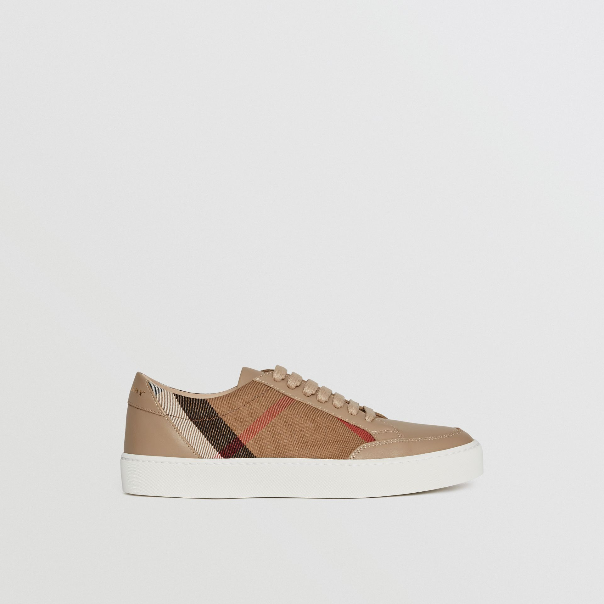 Check Detail Leather Sneakers in House Check/ Nude - Women | Burberry - gallery image 5