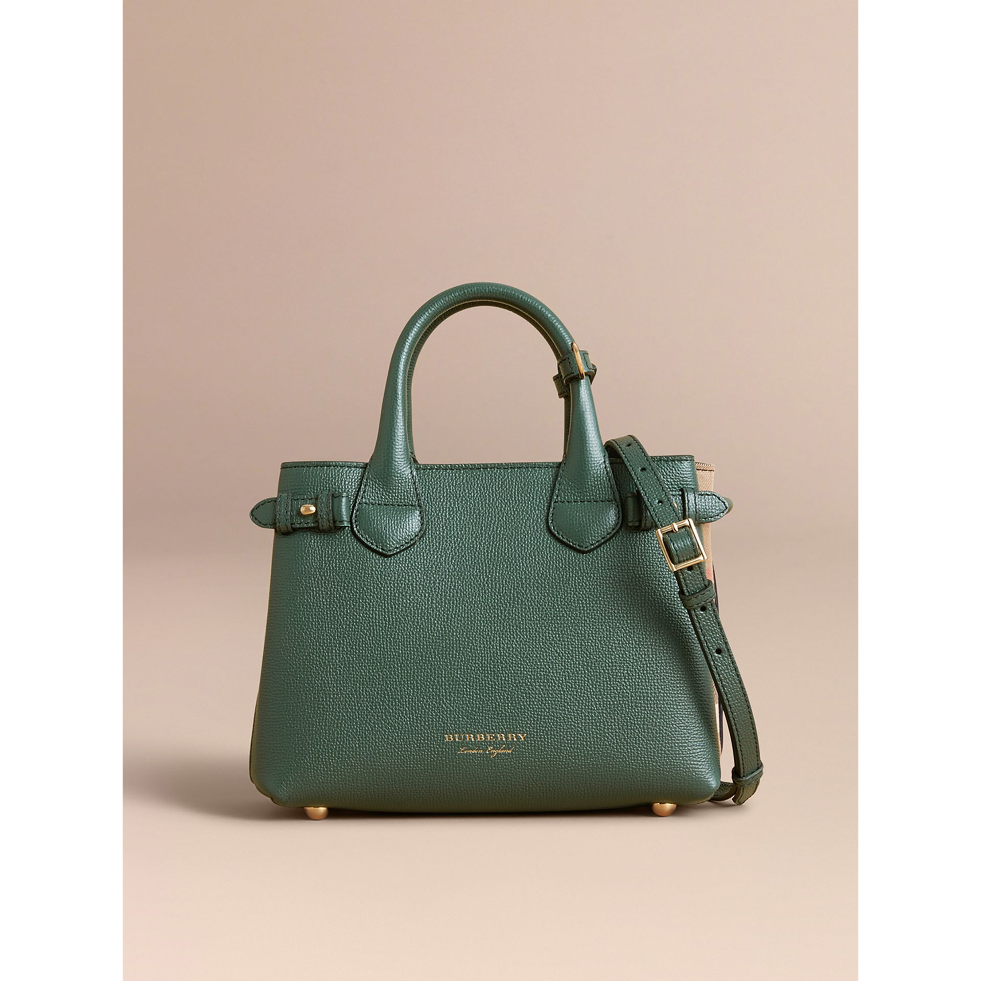The Small Banner in Leather and House Check in Dark Bottle Green - Women | Burberry - gallery image 7