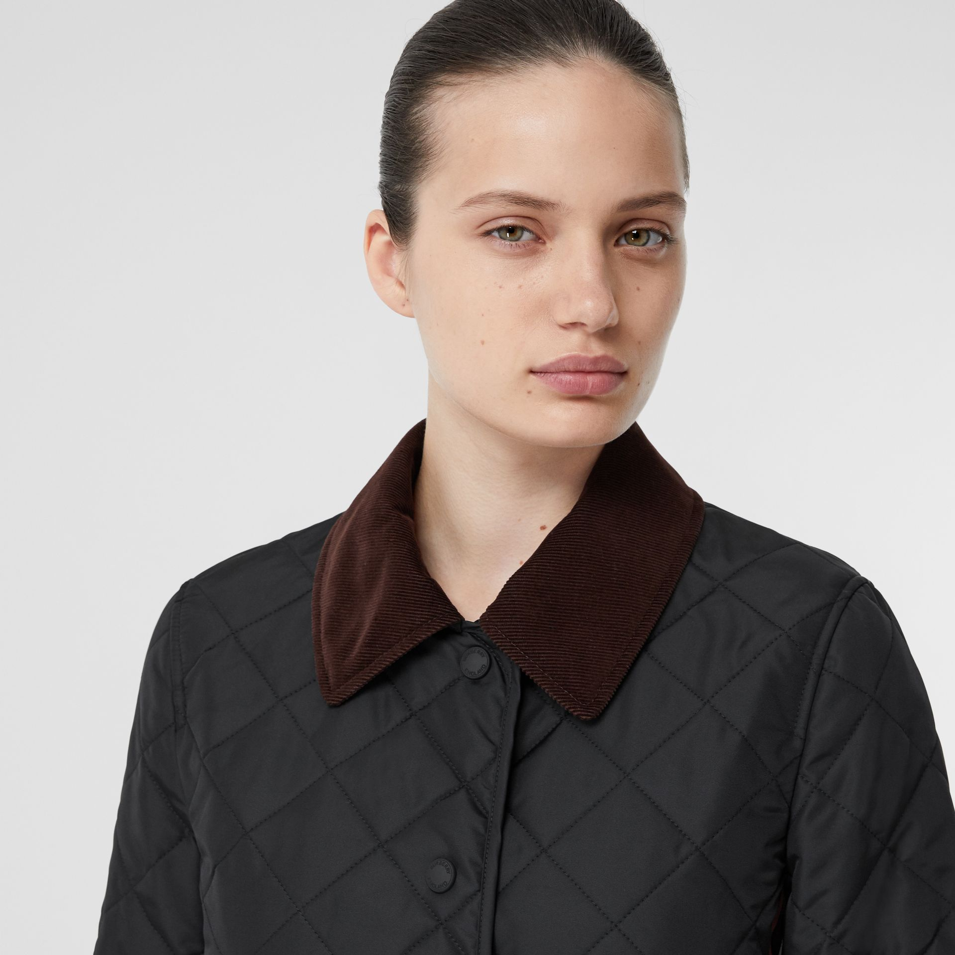 Striped Trim Diamond Quilted Barn Jacket in Black - Women | Burberry - gallery image 1
