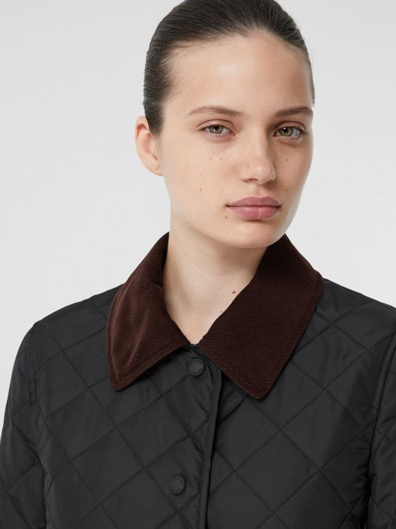 Striped Trim Diamond Quilted Barn Jacket in Black - Women | Burberry - cell image 1