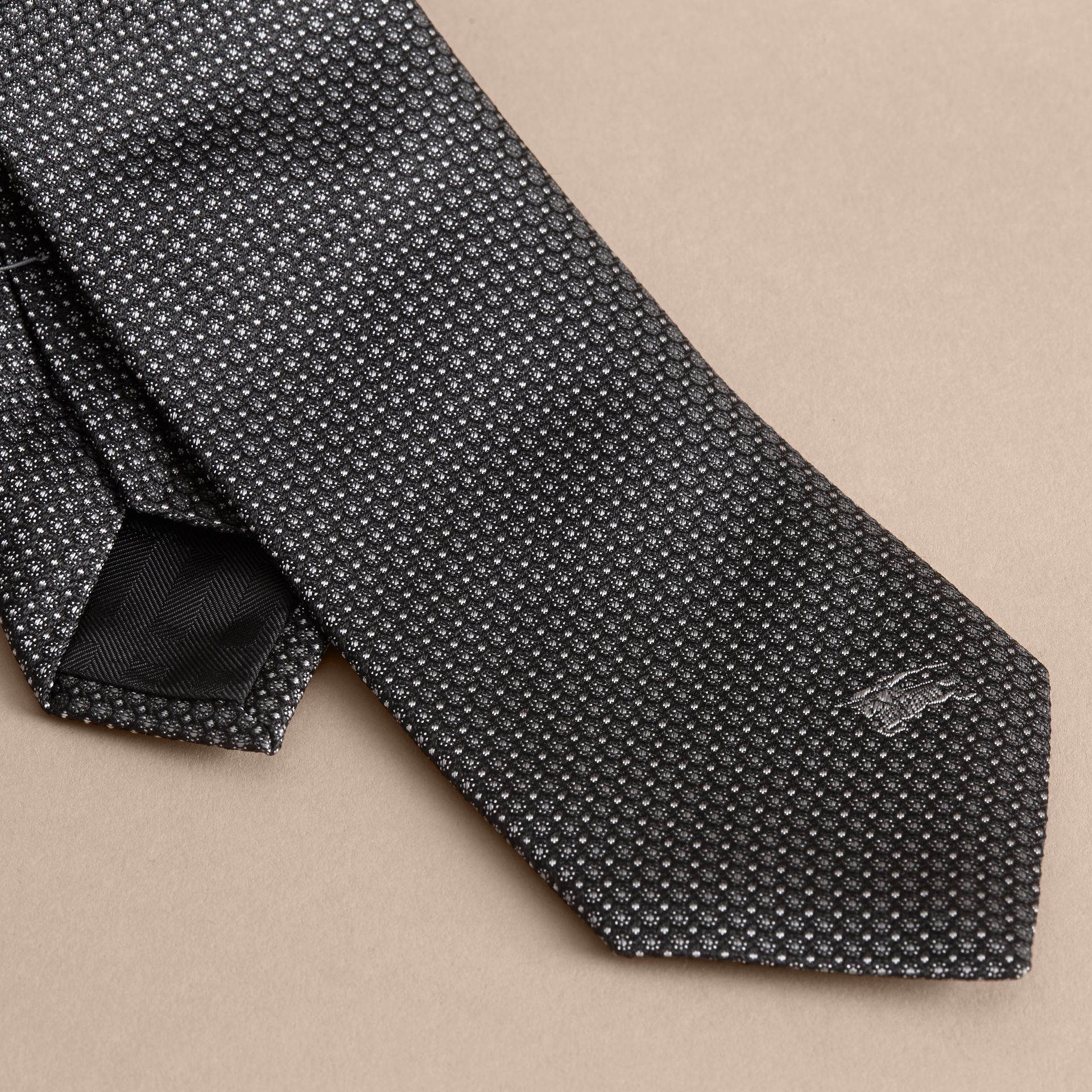 Modern Cut Patterned Silk Tie in Black - gallery image 2
