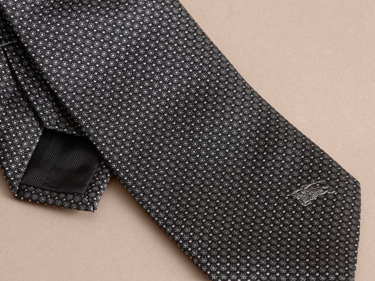 Modern Cut Patterned Silk Tie in Black - cell image 1