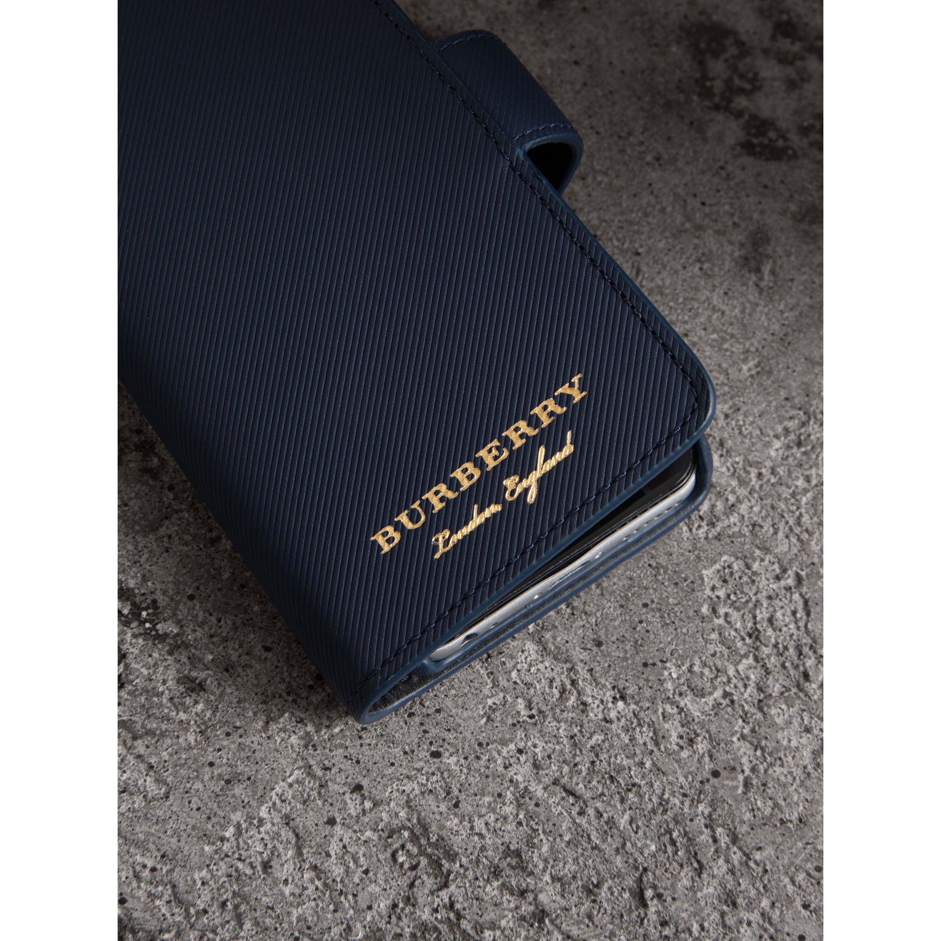 Trench Leather iPhone 7 Case in Ink Blue - Men | Burberry - gallery image 1