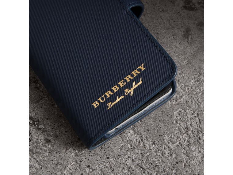 Trench Leather iPhone 7 Case in Ink Blue | Burberry - cell image 1
