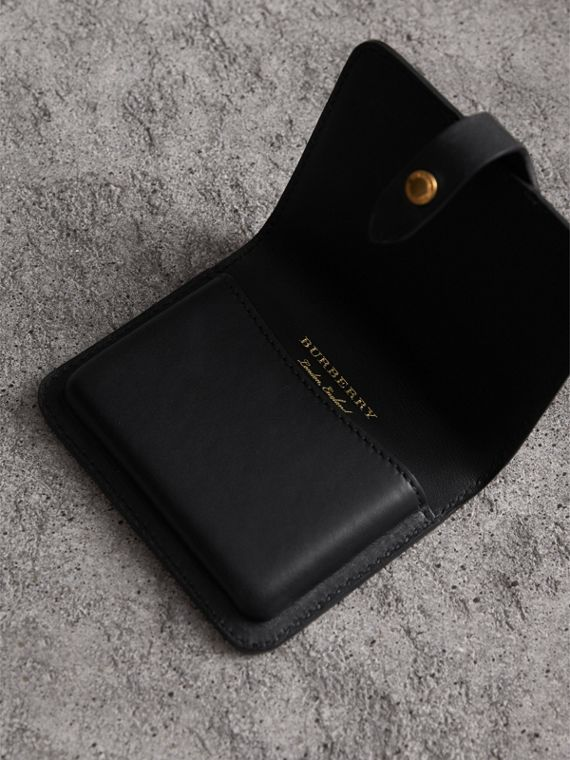 Equestrian Shield Riveted Leather Card Case in Black | Burberry - cell image 3