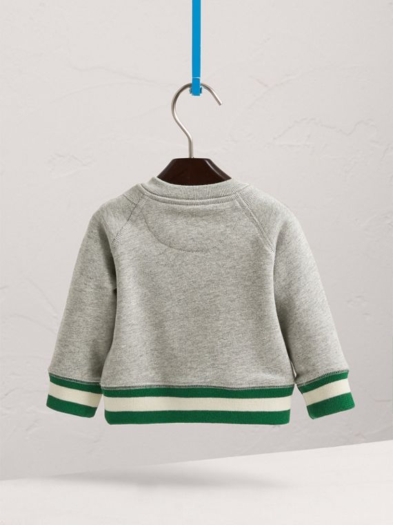 Contrast Stripe Embroidered Cotton Sweatshirt in Grey Melange | Burberry Australia - cell image 3