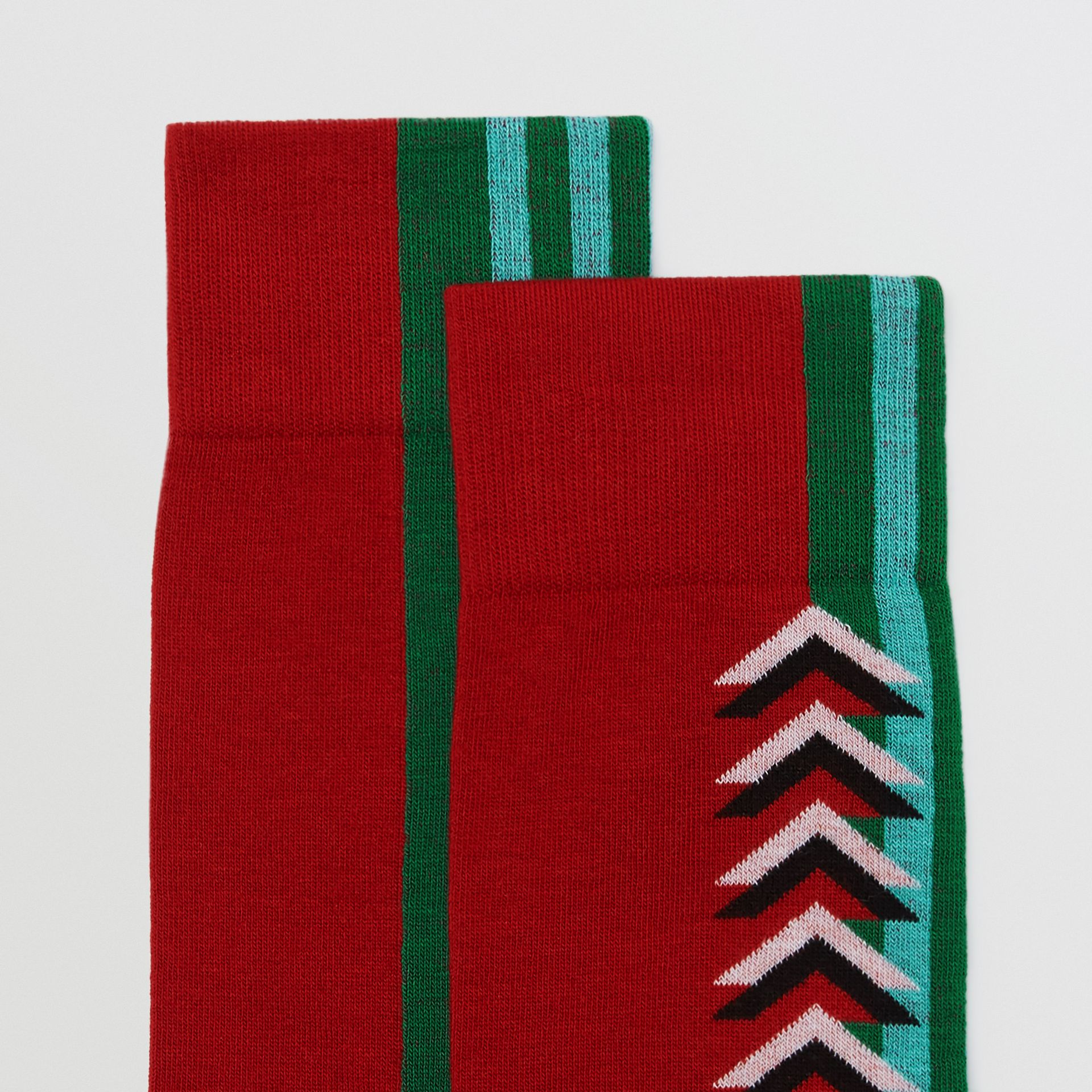 Graphic Intarsia Cotton Blend Socks in Multicolour | Burberry Australia - gallery image 1