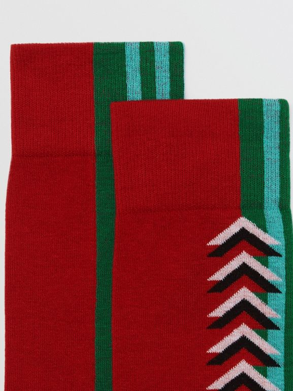 Graphic Intarsia Cotton Blend Socks in Multicolour | Burberry - cell image 1