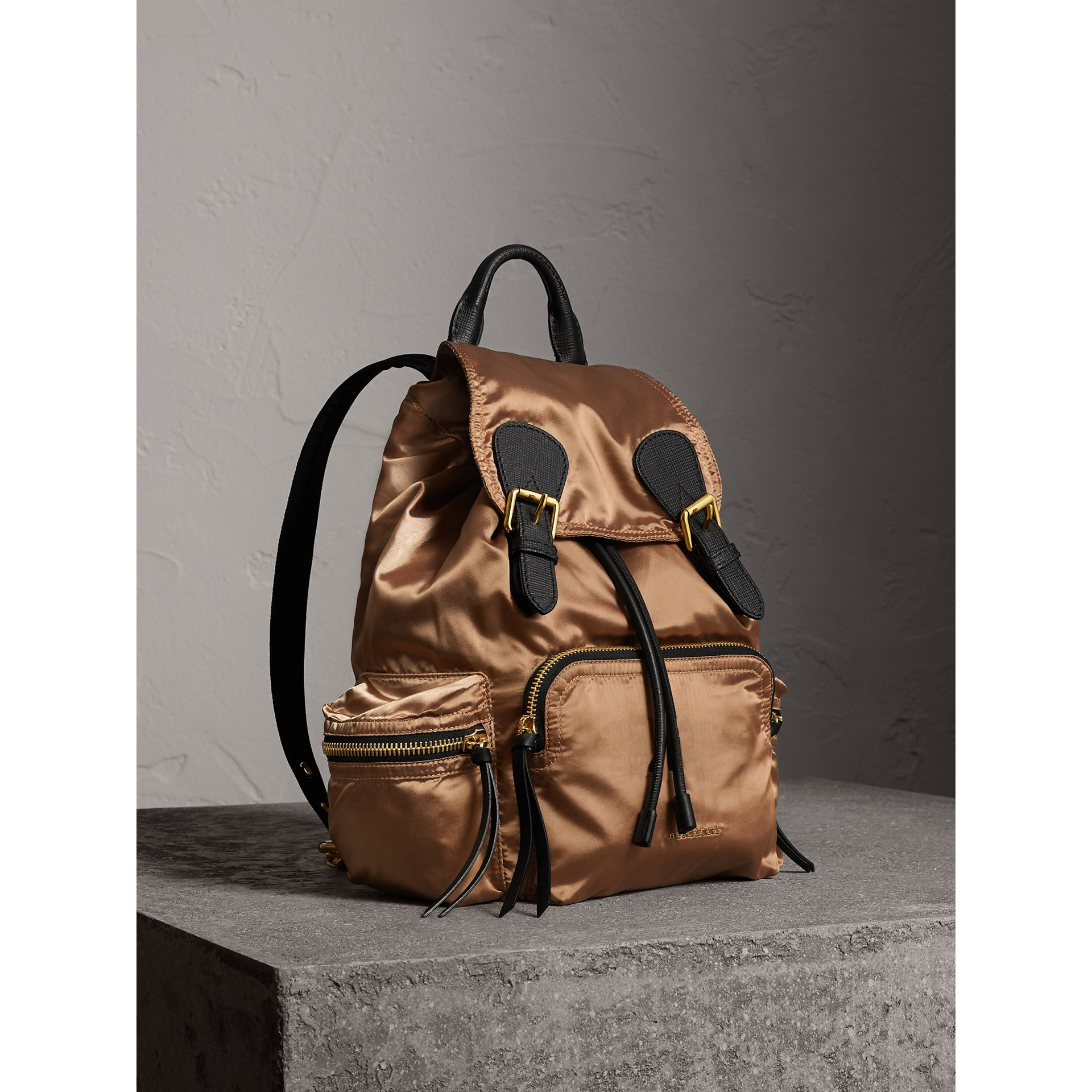 The Medium Rucksack in Two-tone Nylon and Leather in Gold/black - Women | Burberry United States - gallery image 0