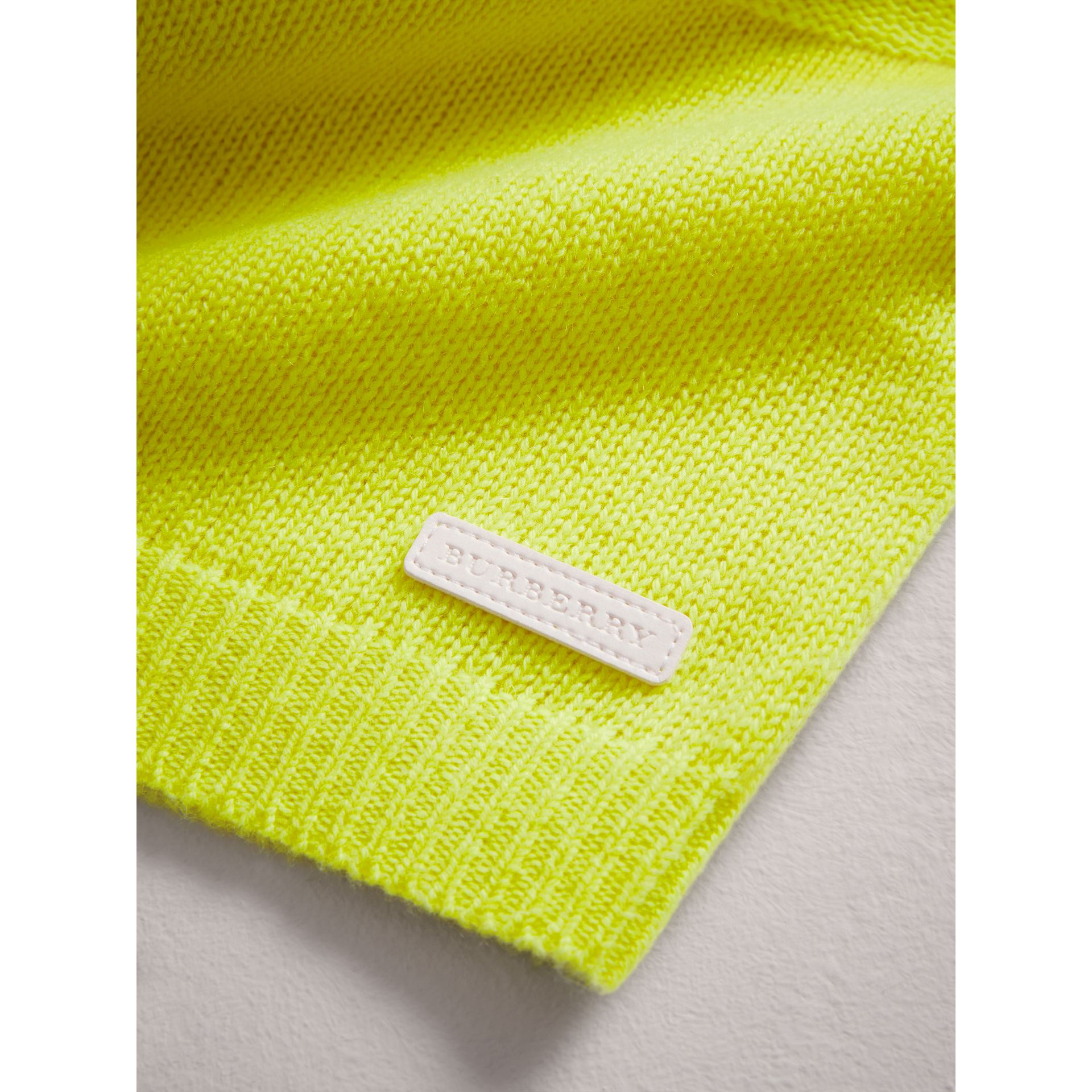 Cashmere Three-piece Baby Gift Set in Neon Yellow | Burberry United Kingdom - gallery image 2