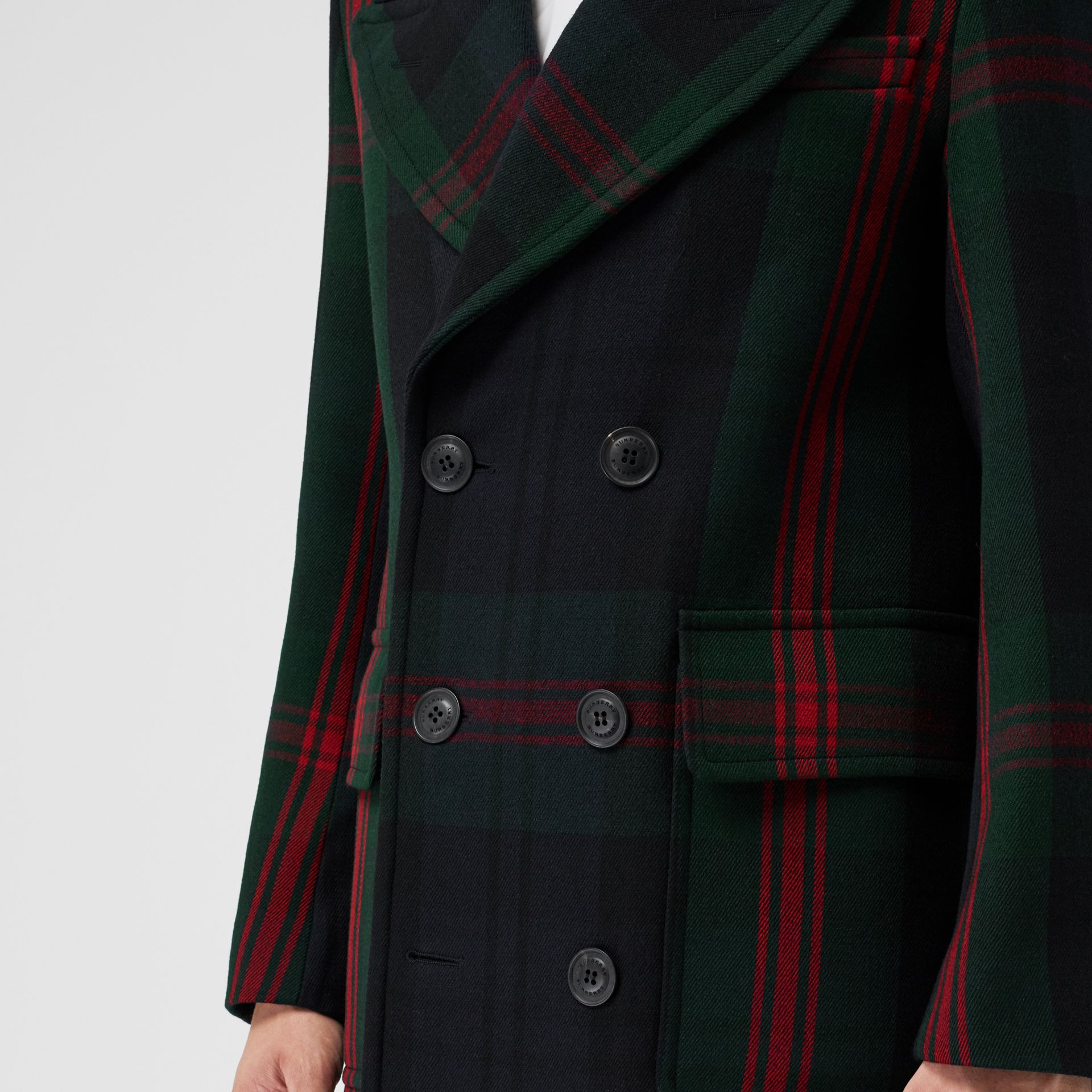 Tartan Wool Mohair Blend Tailored Coat in Navy Check - Men | Burberry Singapore - gallery image 4