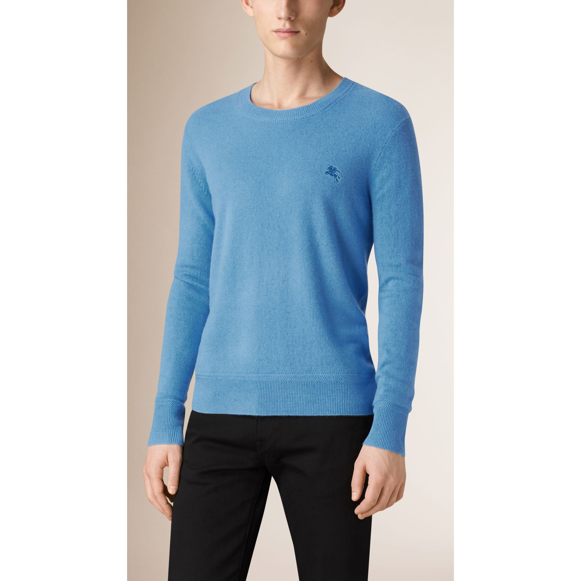 Crew Neck Cashmere Sweater in Pale Blue - Men | Burberry - gallery image 1