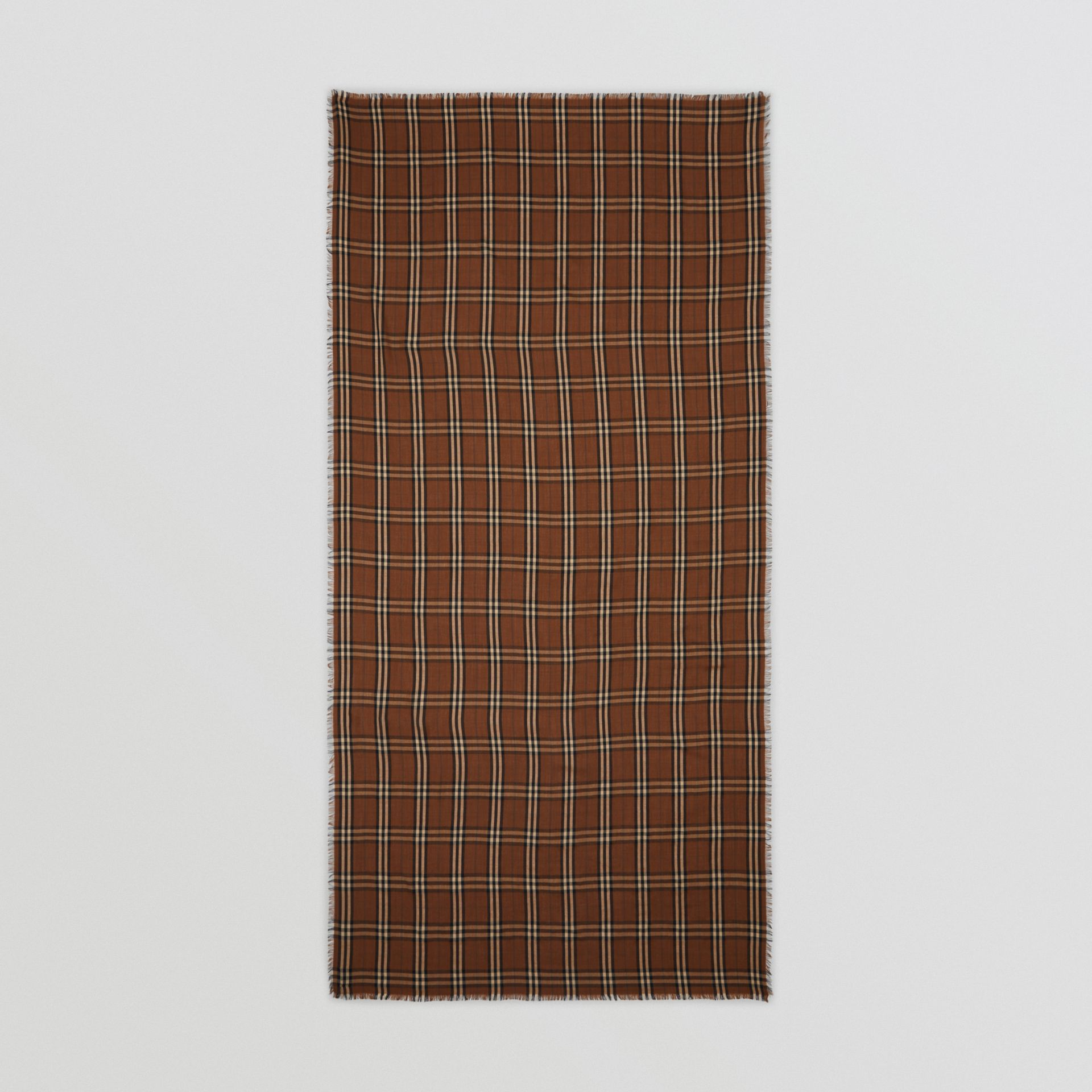Vintage Check Lightweight Cashmere Scarf in Bridle Brown | Burberry United Kingdom - gallery image 5